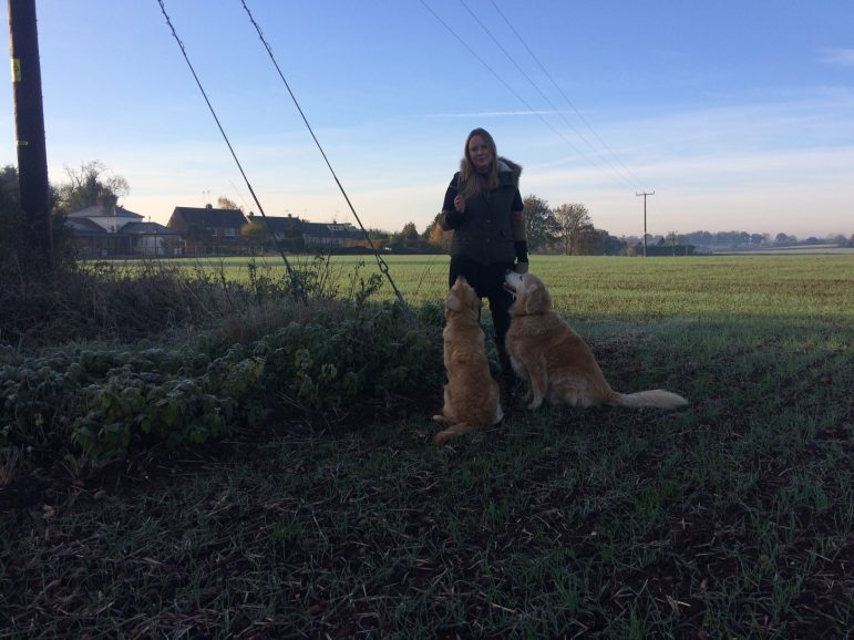 Park Lane Public Relations director Clare Fitzsimmons with her Golden Retrievers Honey and Maple at the exact spot the film of the 'Big Cat' was taken show the scale of the scene - the dogs were at least twice the height of the animal in the video footage.